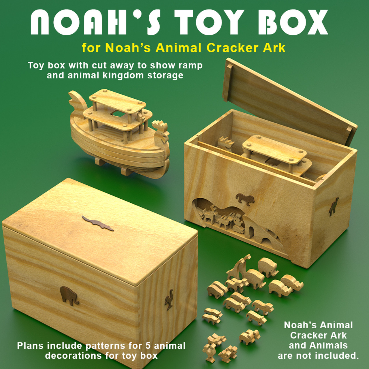 toy box for noah's animal cracker ark wood toy plans (pdf download)