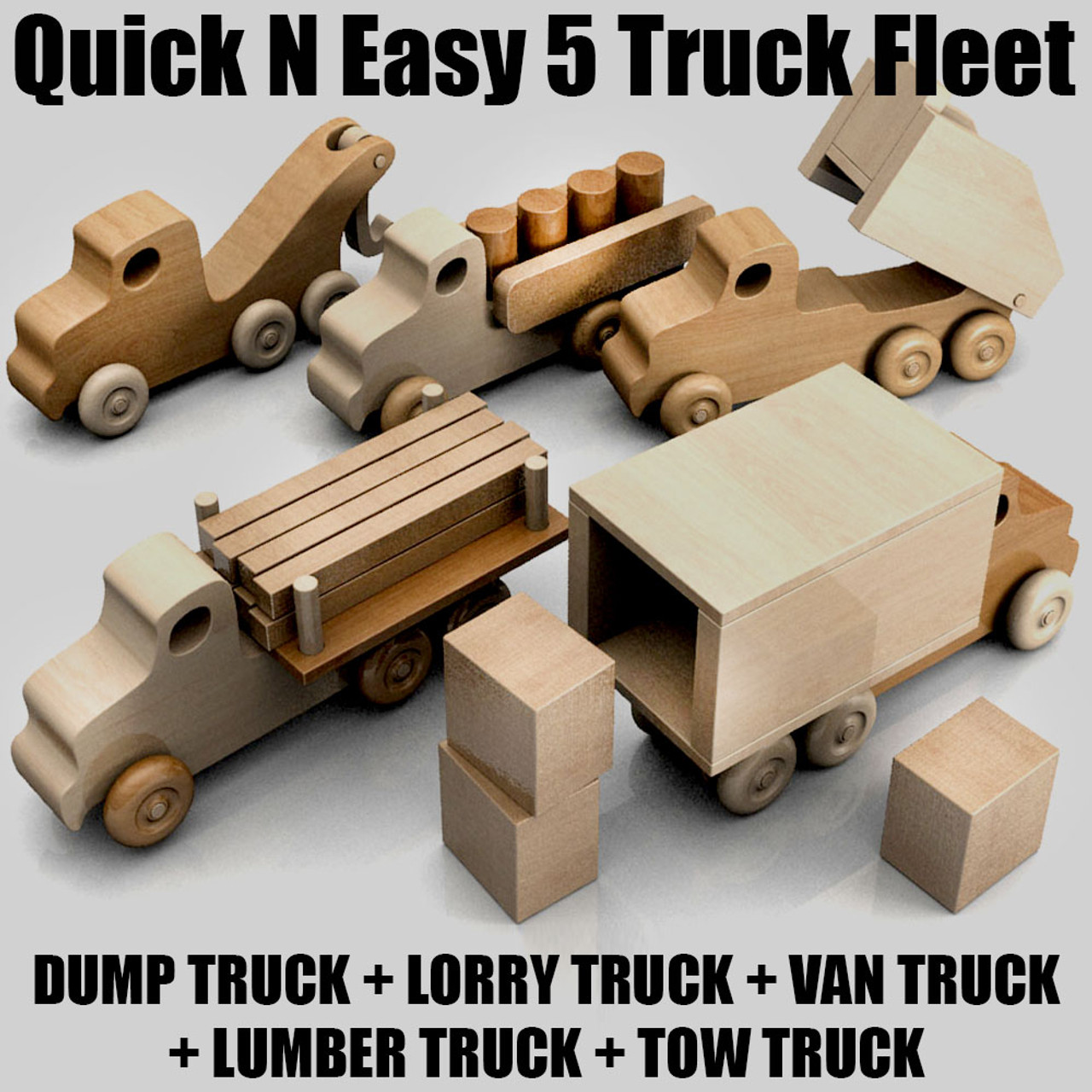 quick & easy 5 truck fleet wood toy plans (pdf download)