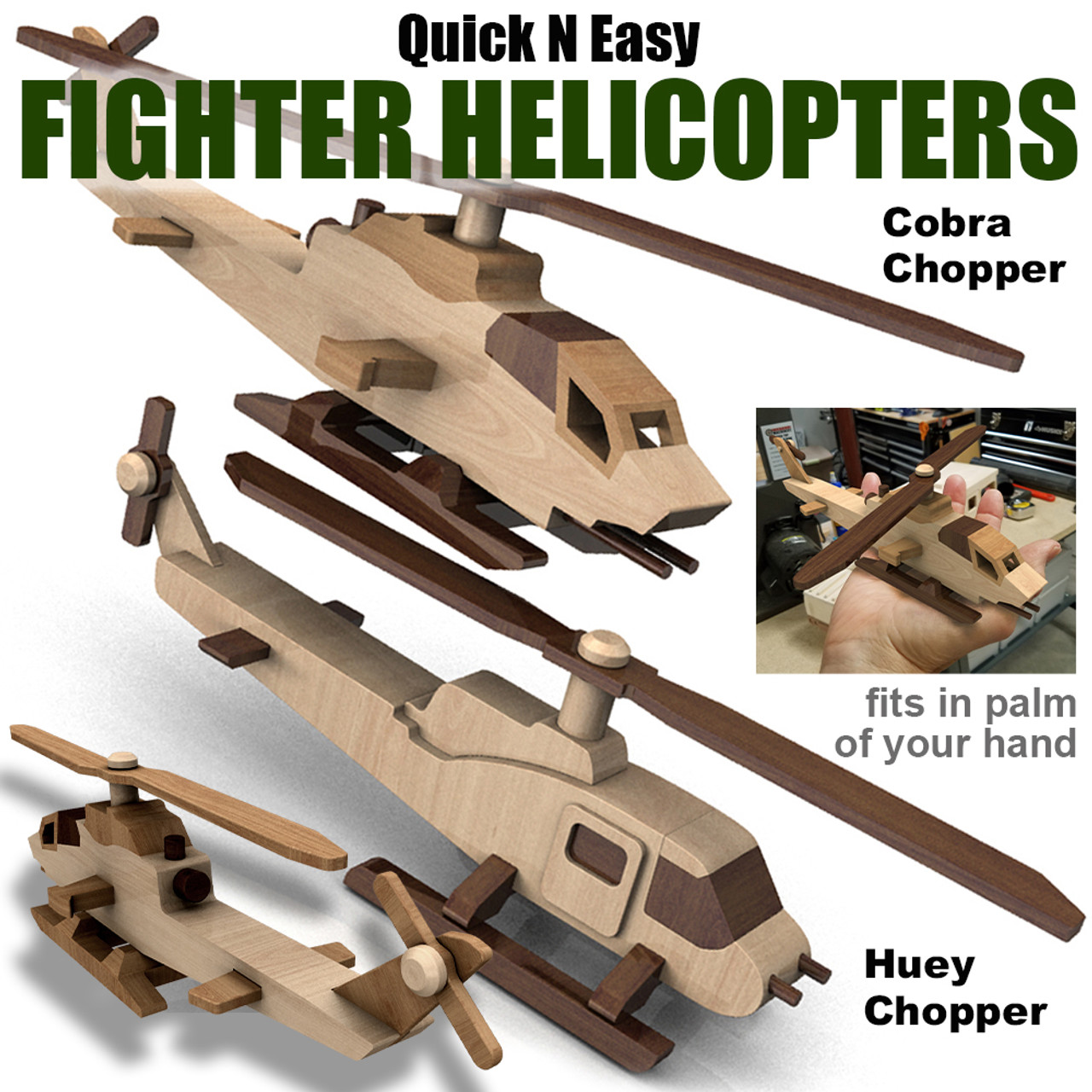 quick & easy fighter helicopters wood toy plans (2 pdf downloads)