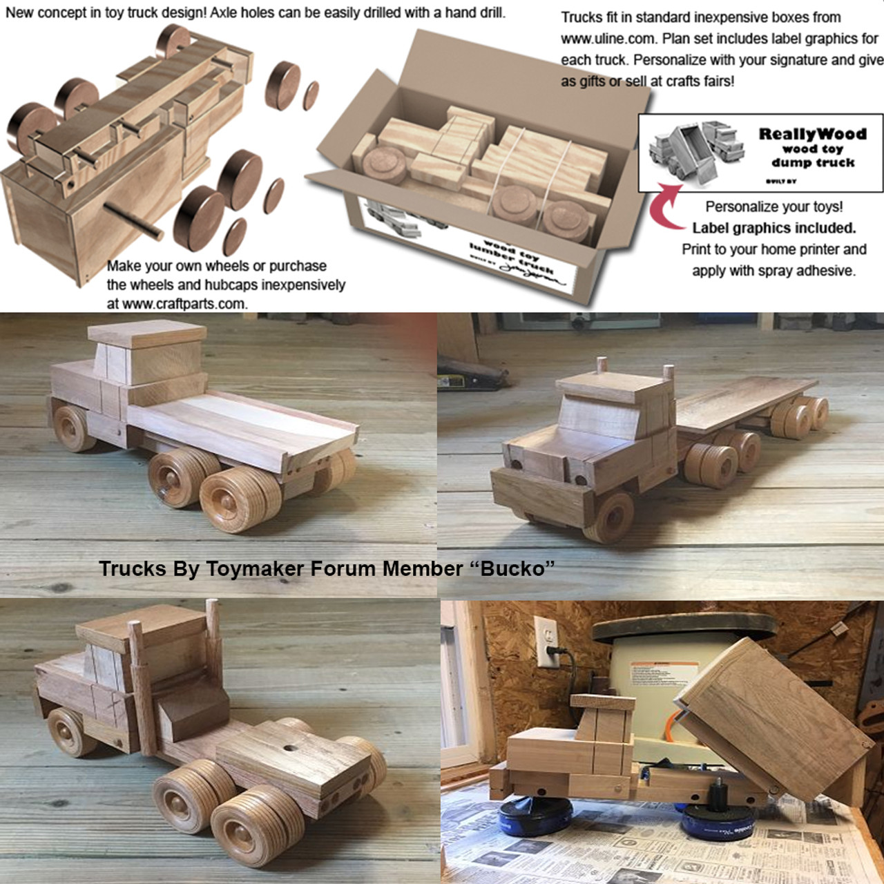 ReallyWood Fleet of 4 Trucks Wood Toy Plans (PDF Download)