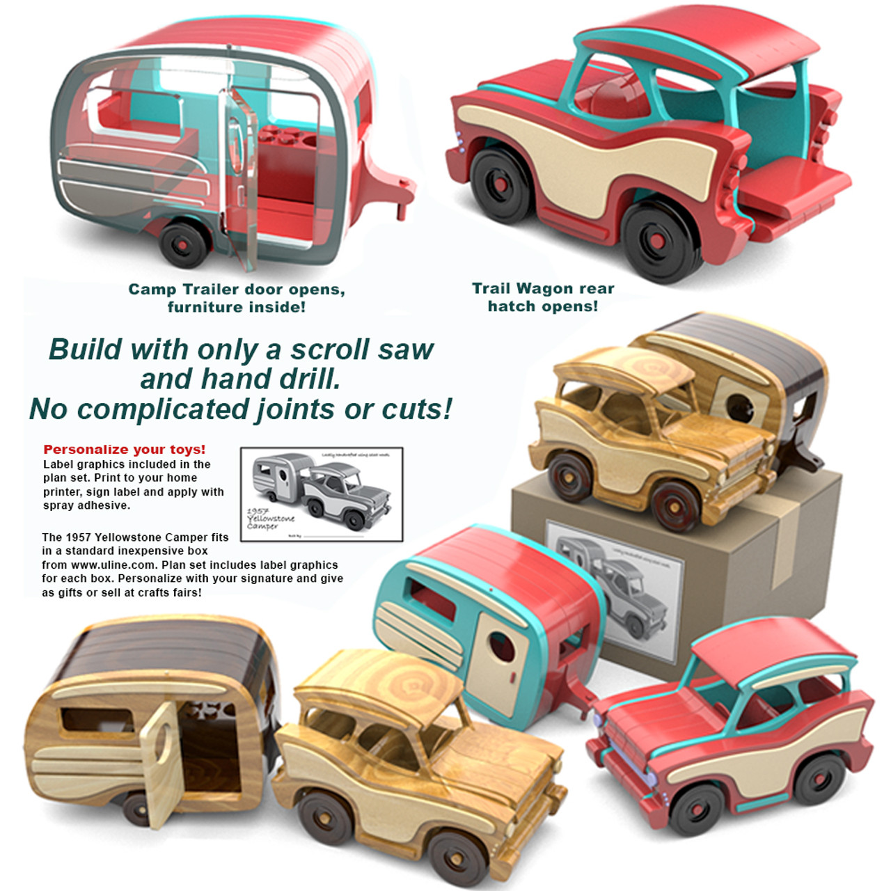 scroll saw magic 1957 yellowstone camper wood toy plans (pdf download)
