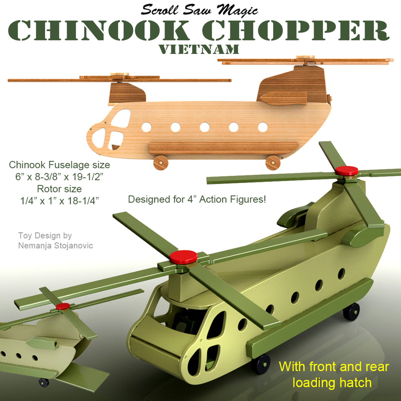 scroll saw magic chinook chopper vietnam wood toy plans (pdf download)