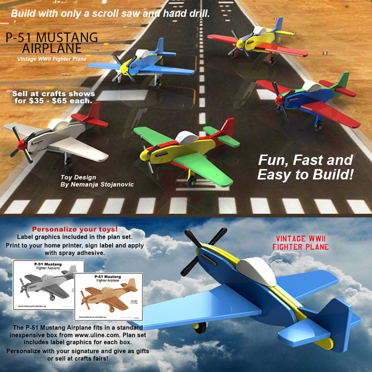 scroll saw magic p-51 mustang airplane wood toy plans (pdf download)