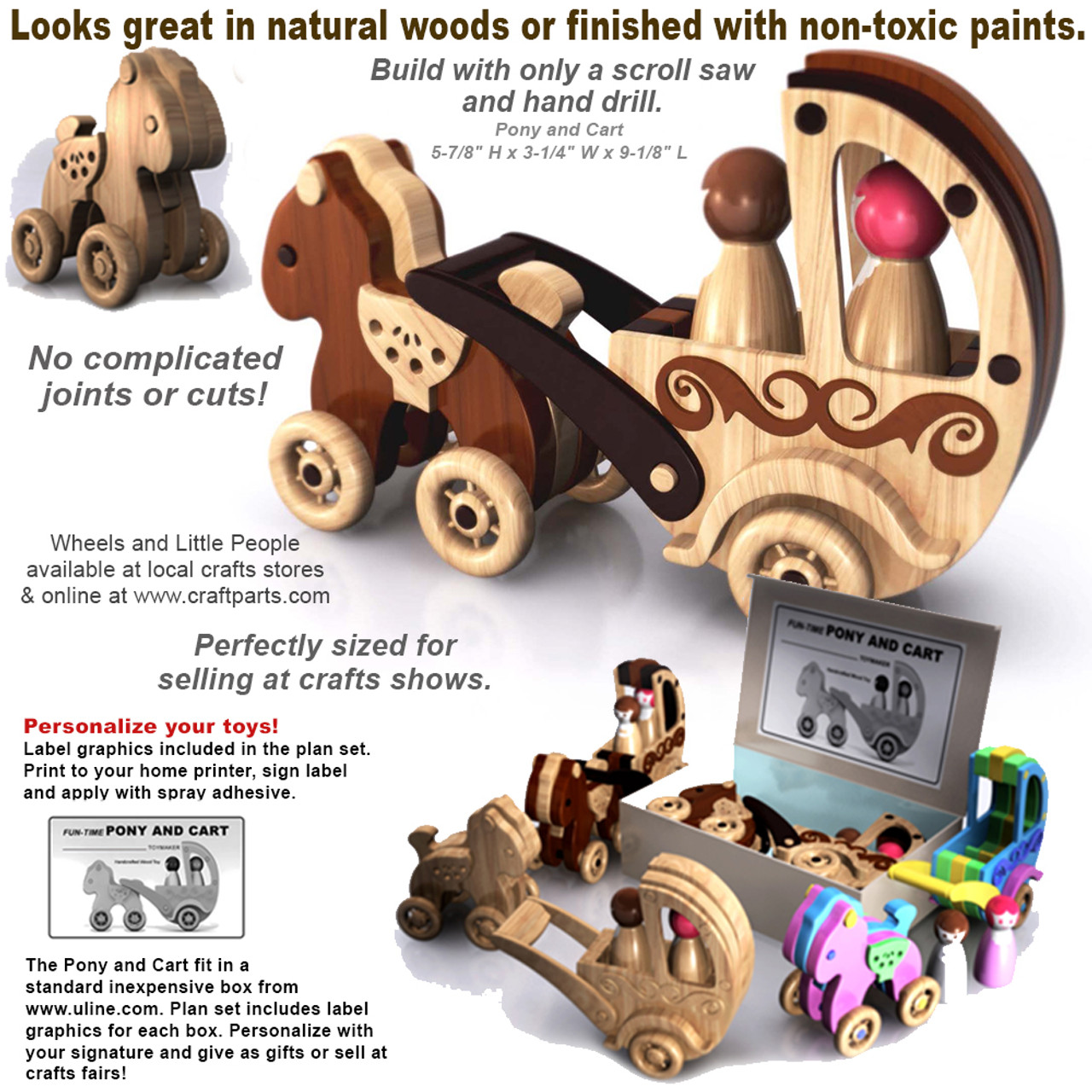 scroll saw magic pony and cart wood toy plans (pdf download)