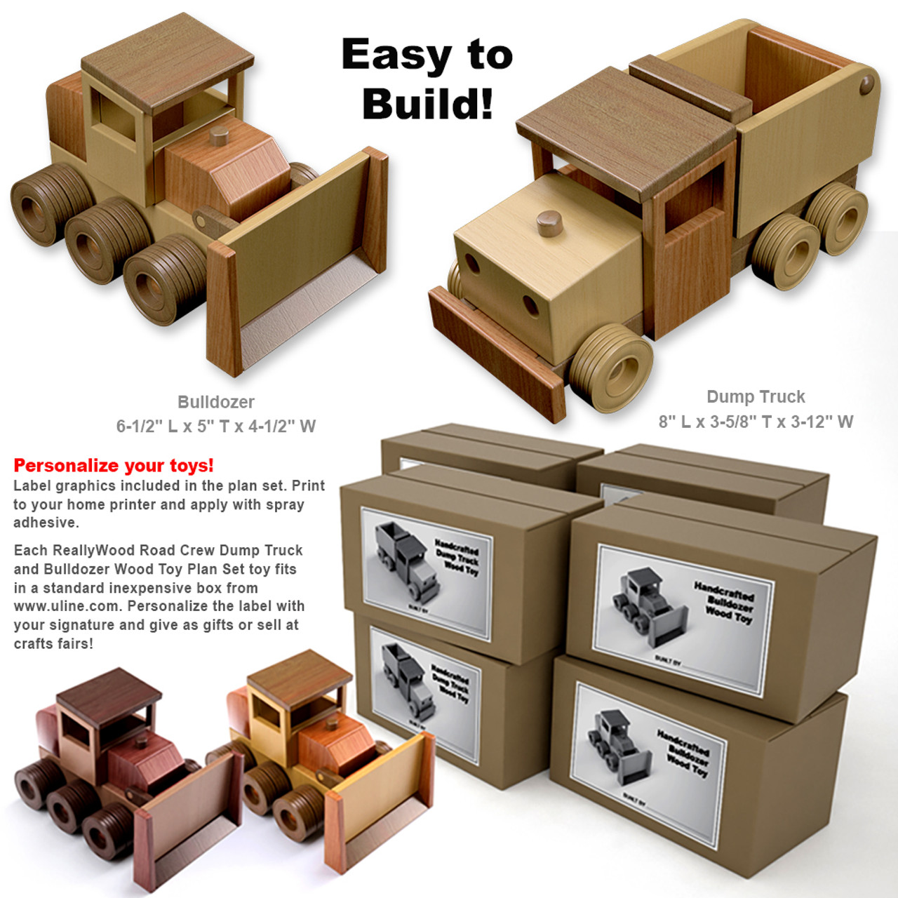reallywood road crew dump truck & bull dozer wood toy plans (pdf download)