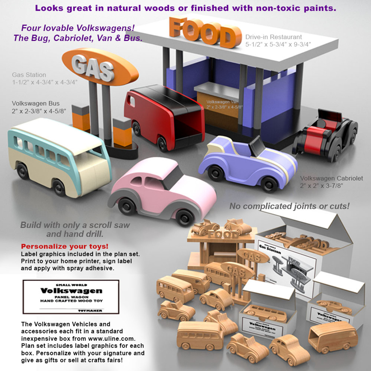 small world volkswagens + food & gas stop wood toy plans (pdf download)