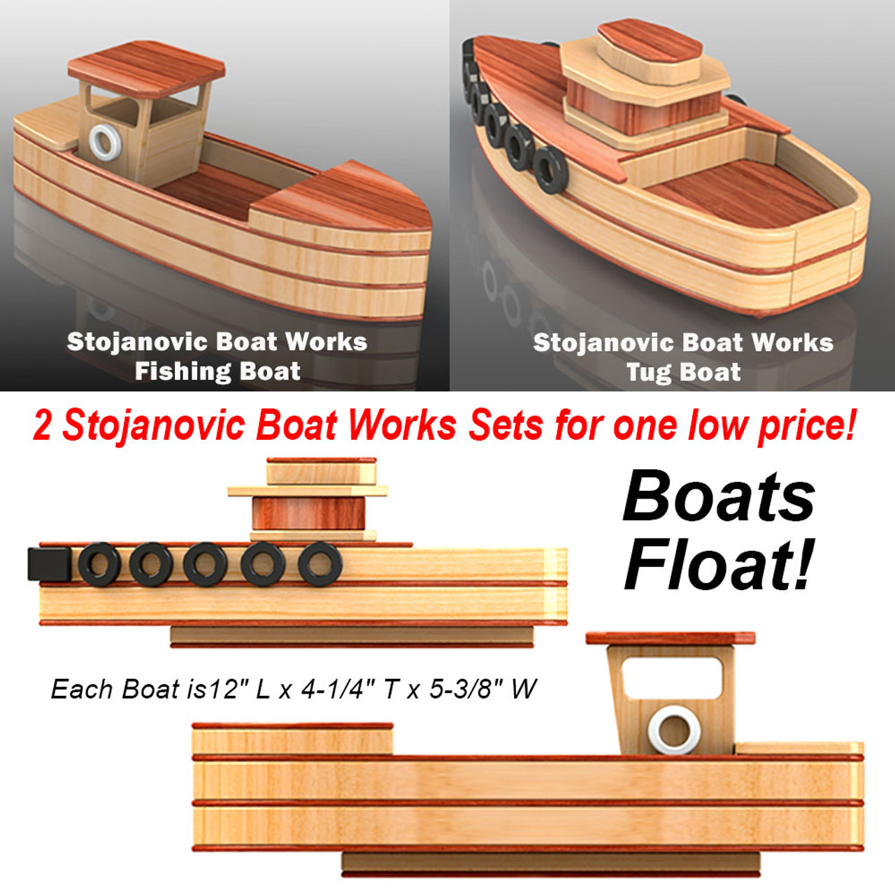 stojanovic fishing boat + tug boat wood toy plans (2 pdf downloads)