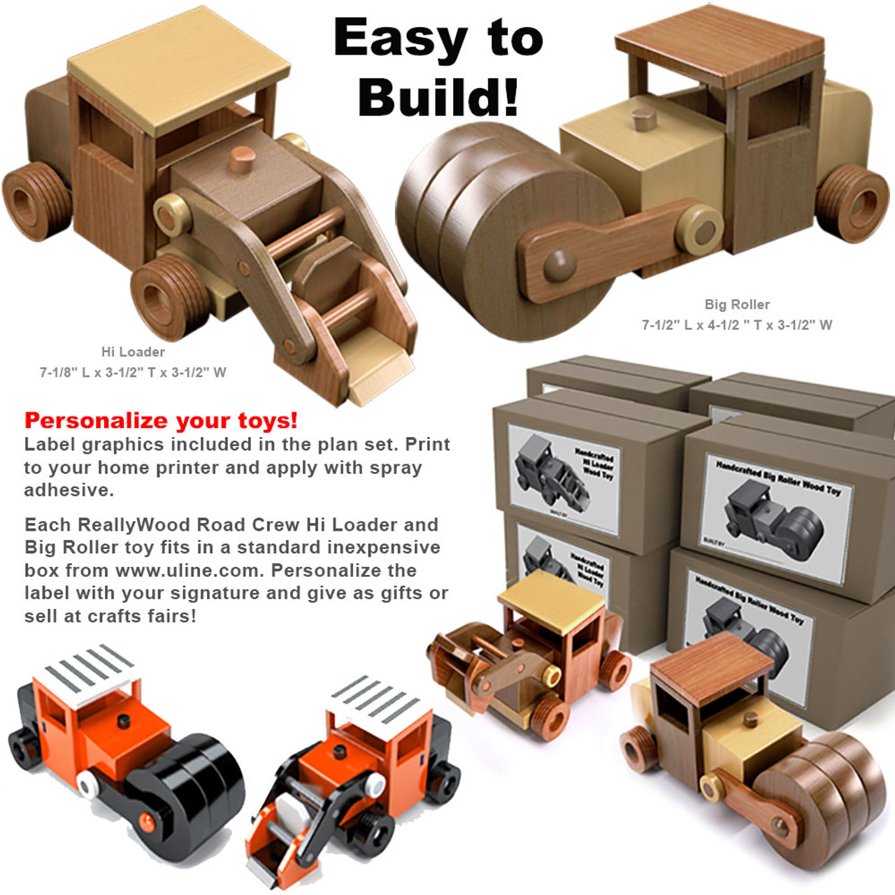 reallywood road crew hi loader & big roller wood toy plans (pdf download)