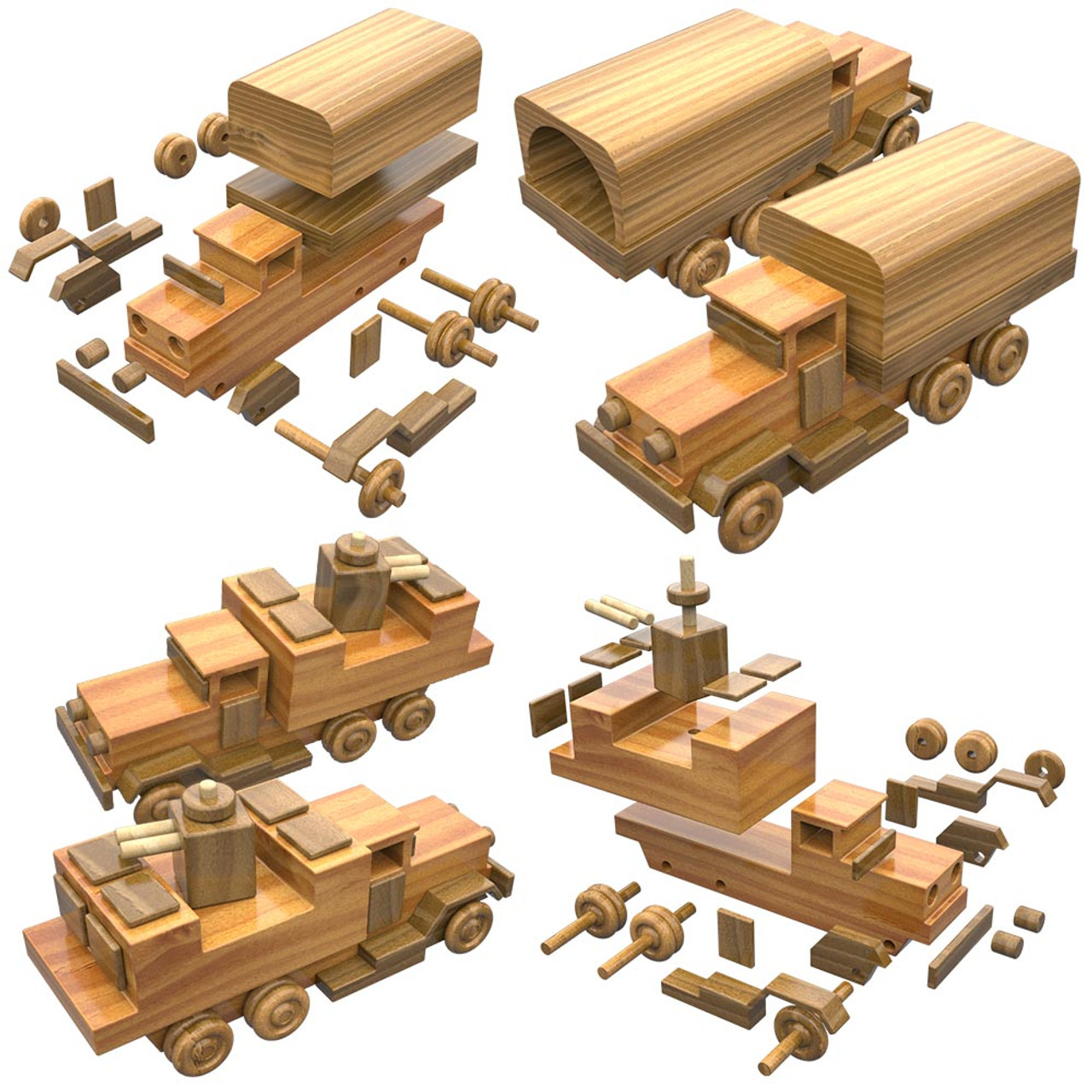 military miniatures troop, fuel, gun trucks + field hospital wood toy plans  (2 pdf downloads)