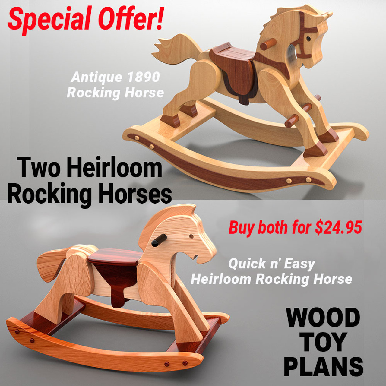 special offer! antique 1890 rocking horse + quick n' easy heirloom rocking  horse wood toy plans (2 pdf downloads)