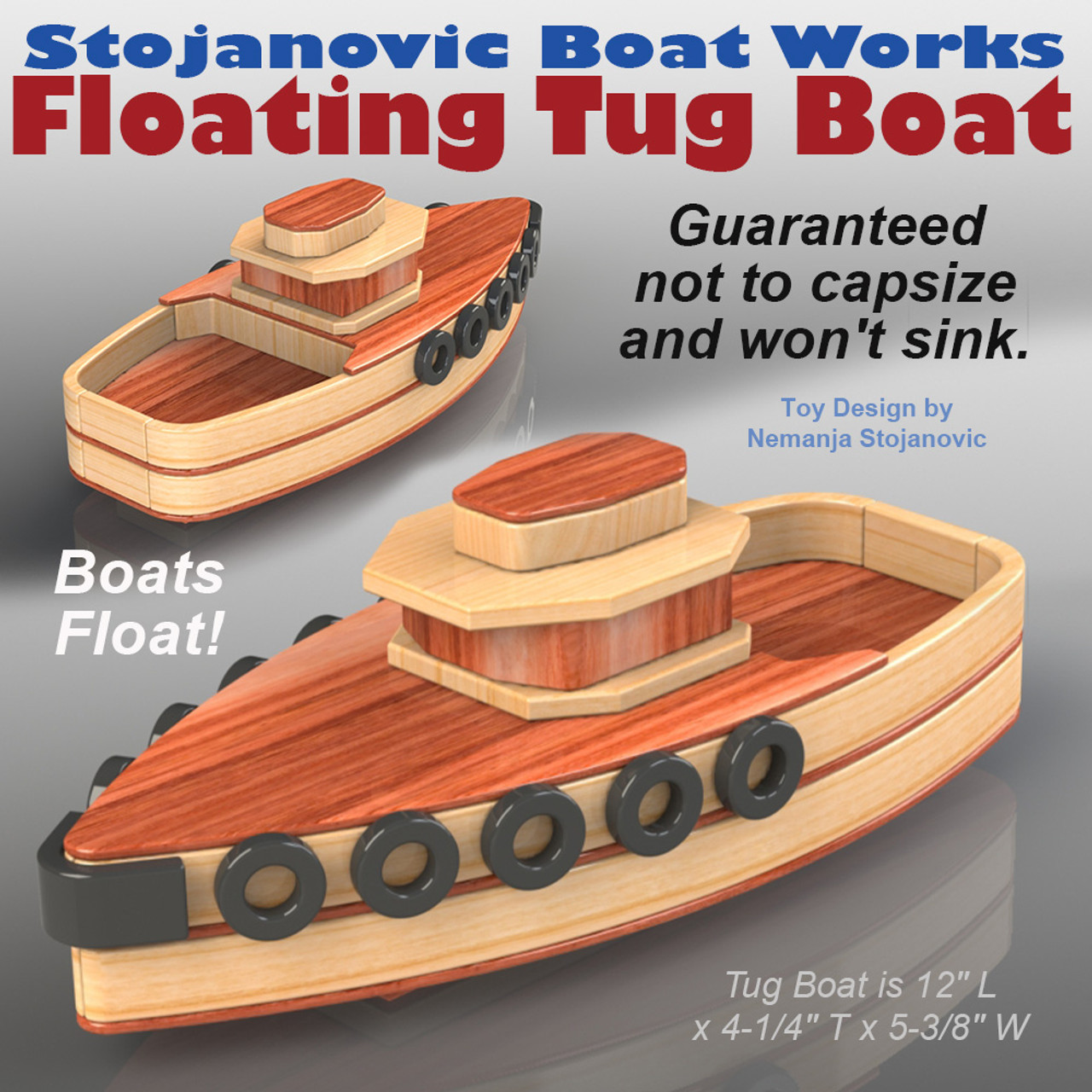 stojanovic boat works tug boat wood toy plans (pdf download)