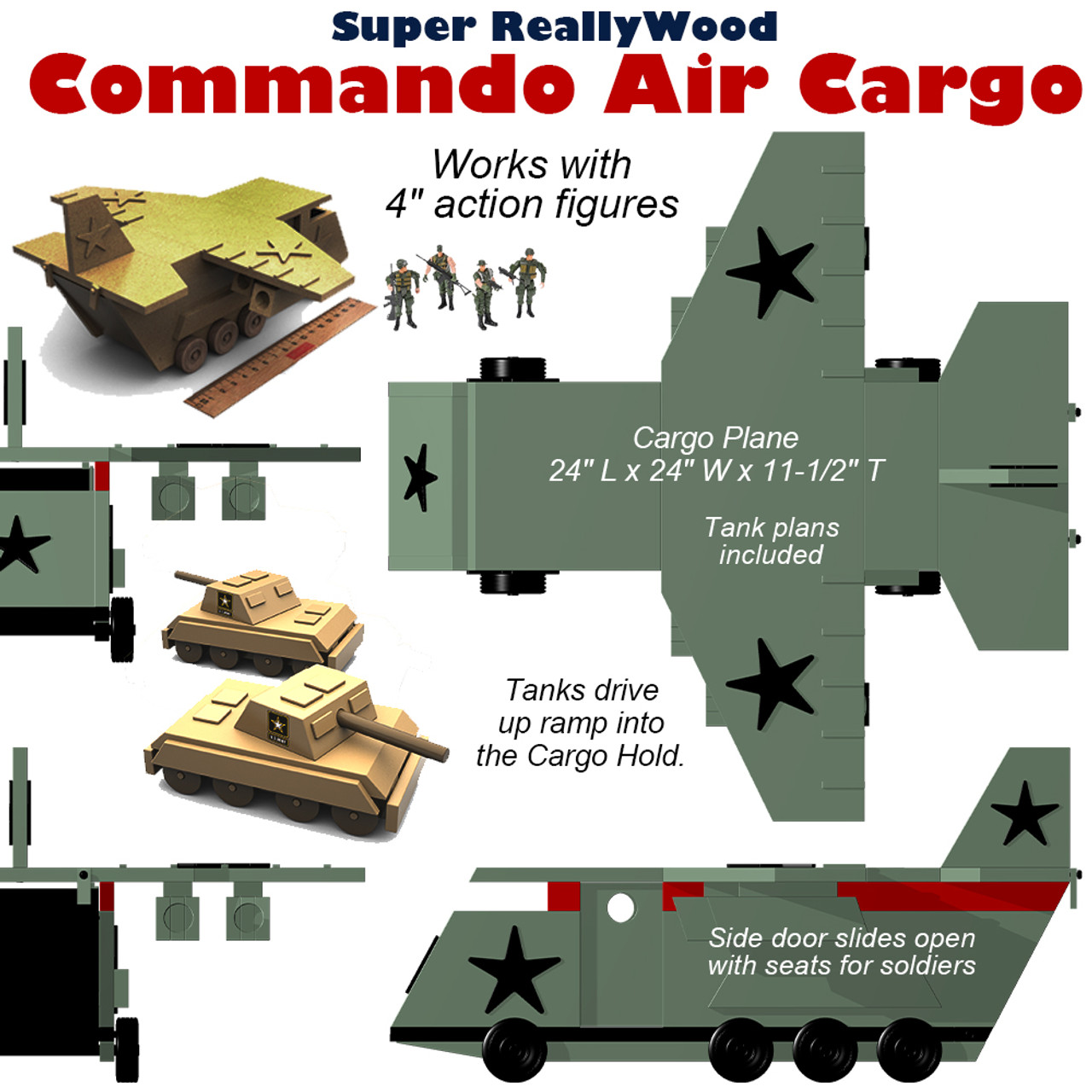 super reallywood commando air cargo wood toy plans (pdf download)