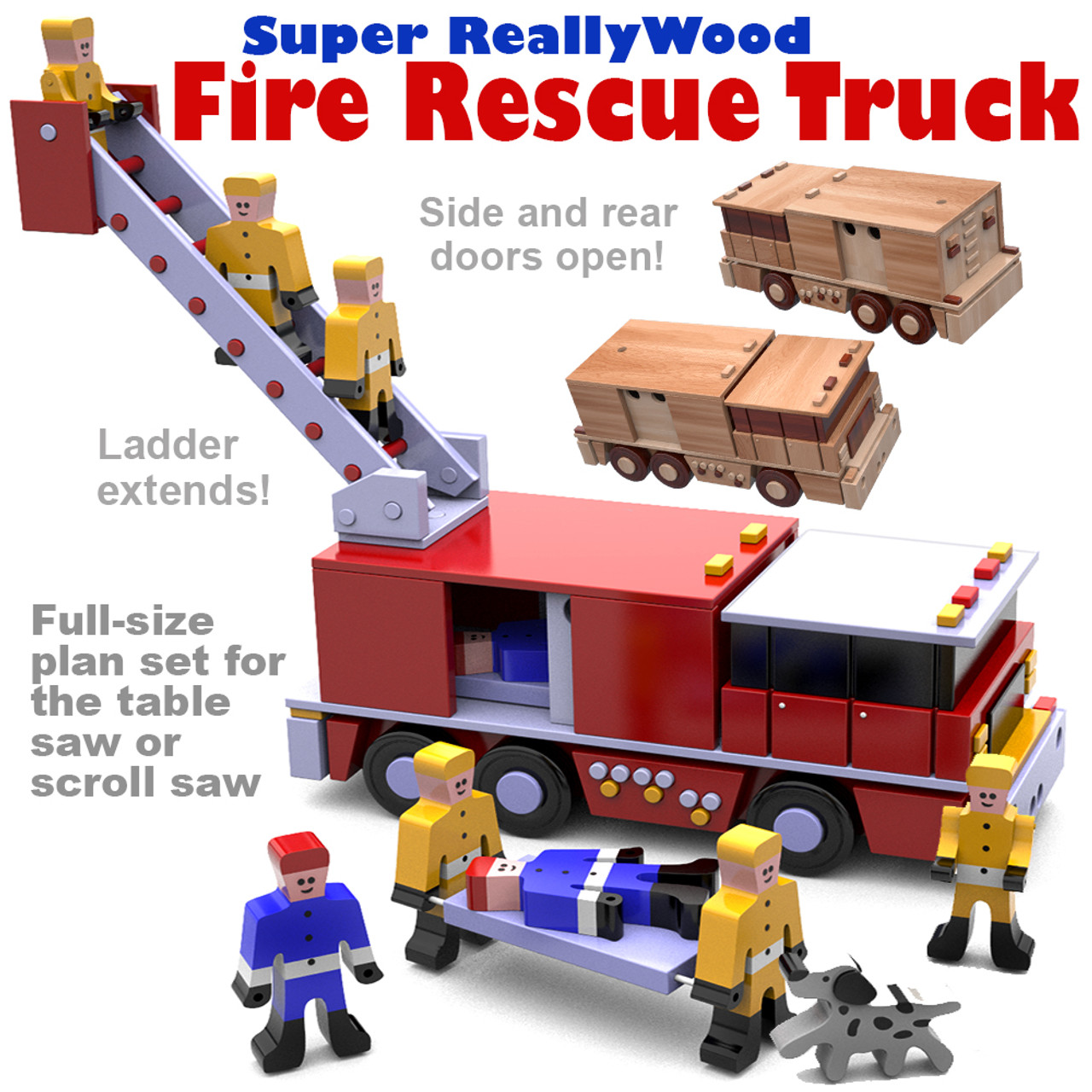 super reallywood rescue fire truck wood toy plans (pdf download)