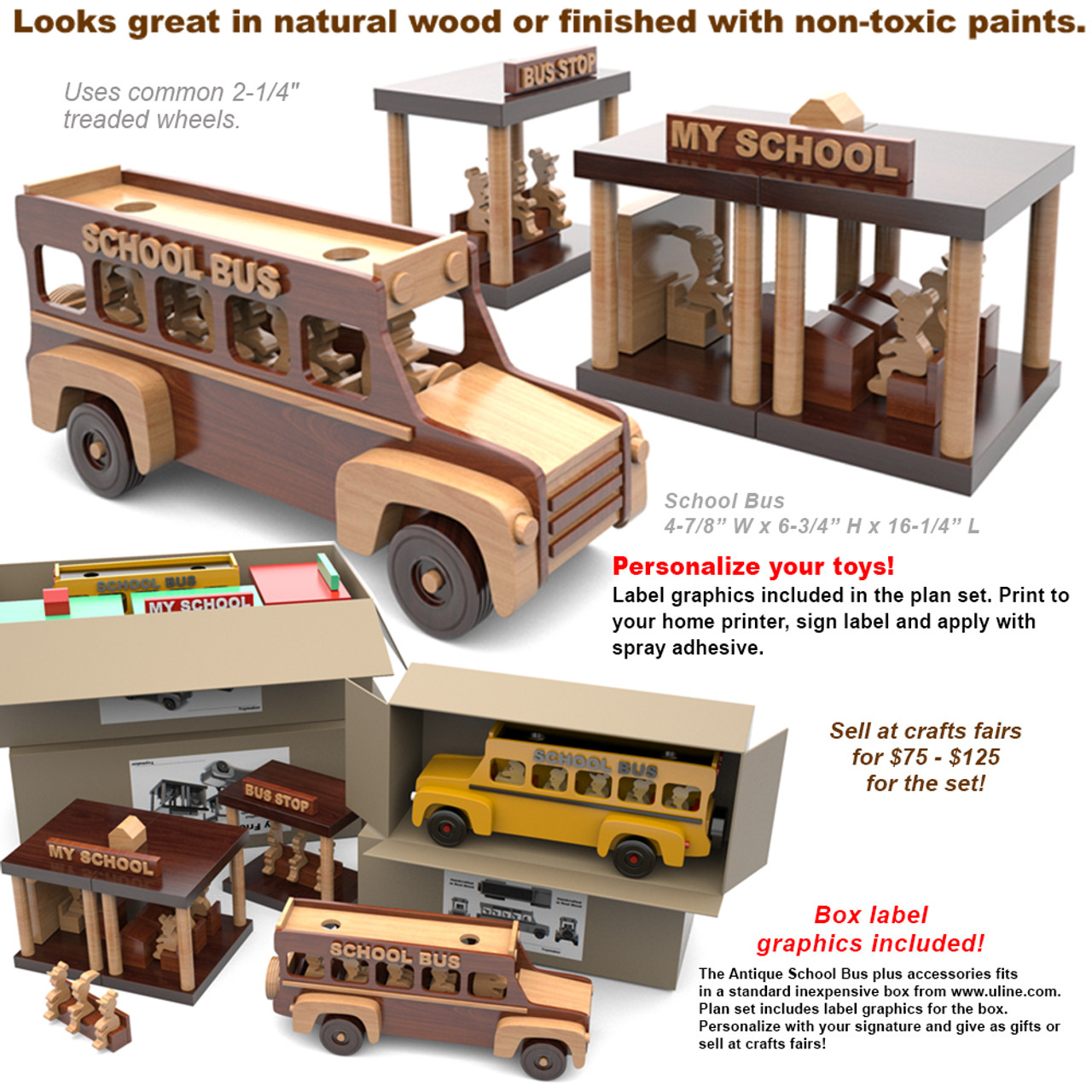 super simple my friendly school bus wood toy plans (pdf download)
