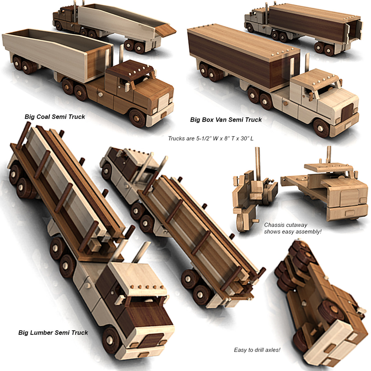 the big easy triple truck fleet wood toy plans (4 pdf downloads)