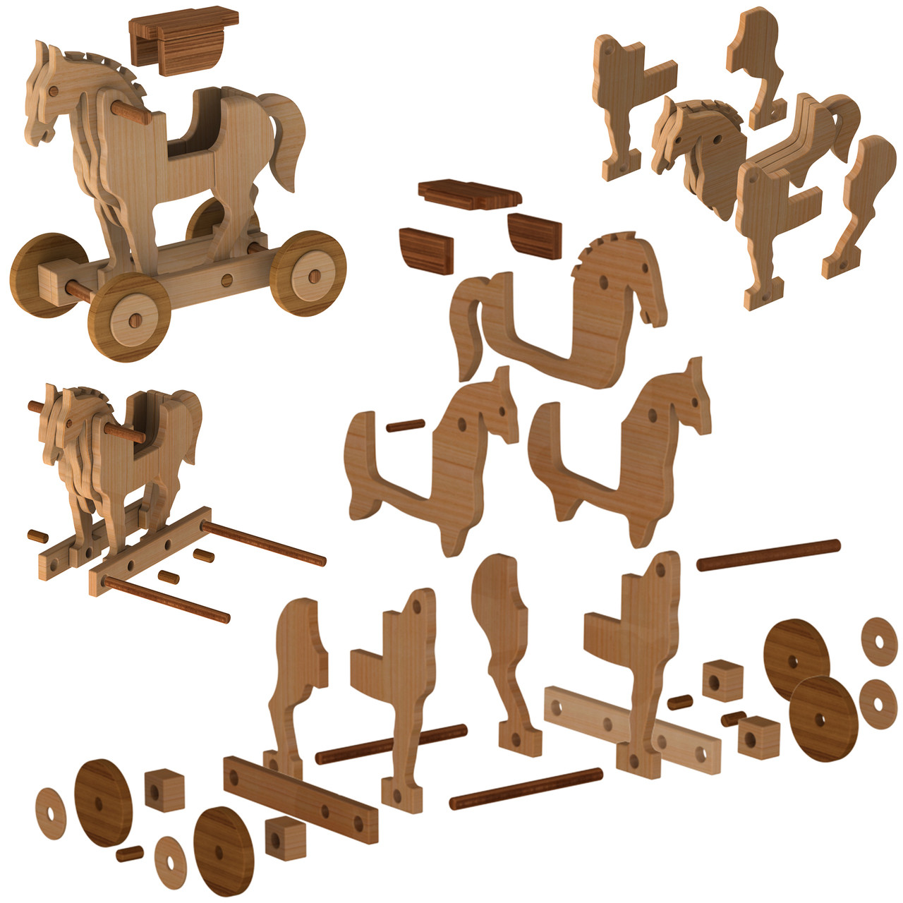 trojan ride-on horse + catapult & soldiers wood toy plans (pdf download)