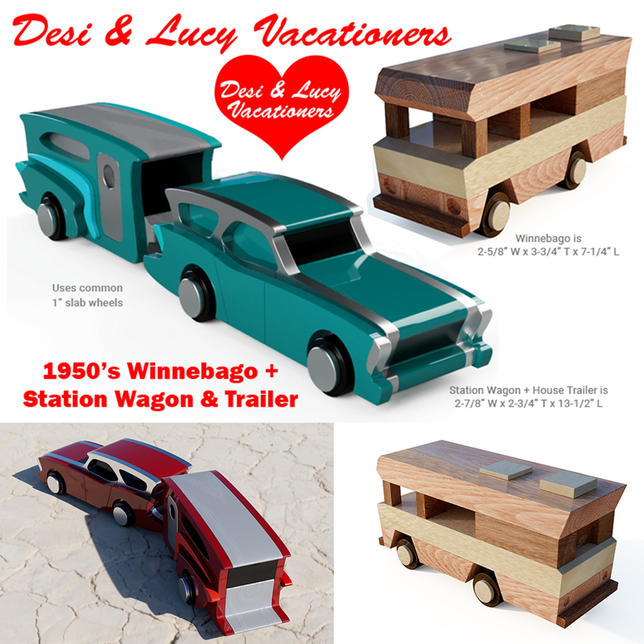 1950's chrysler station wagon + trailer + winnebago wood toy plans (3 pdf  downloads)