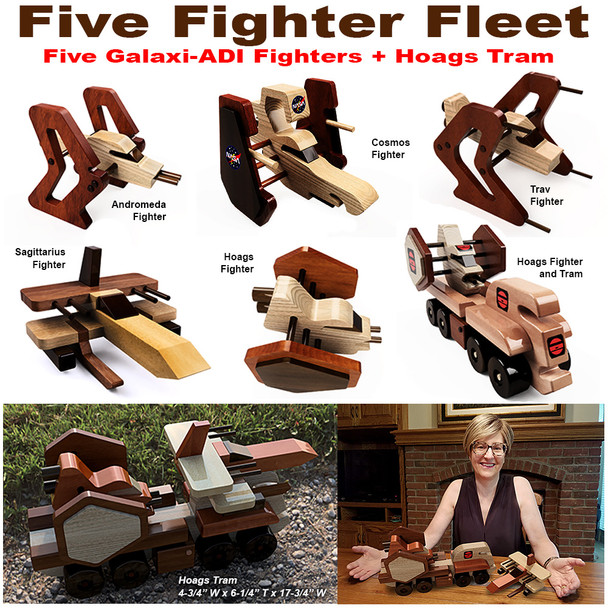 Galaxi ADI Five Fighter Fleet + Hoags Tram (5 PDF Downloads) Wood Toy Plans