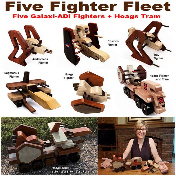 Galaxi ADI Five Fighter Fleet + Hoags Tram (5 PDF Downloads) Wood Toy Plans