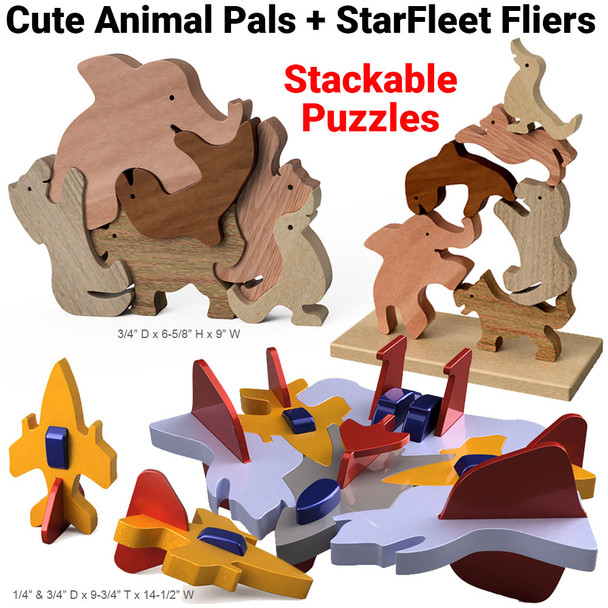 Animal Pals + Starfleet Flyers Stackable Puzzles Wood Toy Plans (2 PDF Downloads)