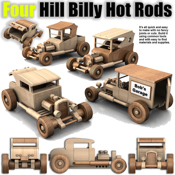 Four Hill Billy Hot Rods Plan Set (4 PDF Downloads) Wood Toy Plans