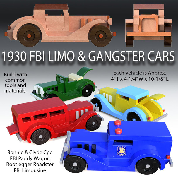 1930 FBI Limo & Gangster Cars (4 PDF Downloads) Wood Toy Plans