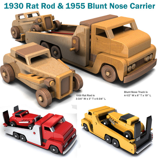 1930 Rat Rod and 1955 Blunt Nose Carrier (2 PDF Downloads) Wood Toy Plans