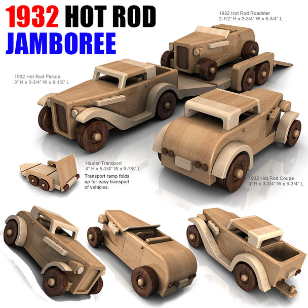 1932 Hot Rod Jamboree + Hauler  (PDF Download) Wood Toy Plans