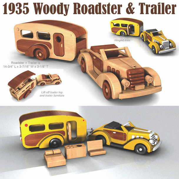 1935 Woody Roadster & Trailer (PDF Download) Wood Toy Plans