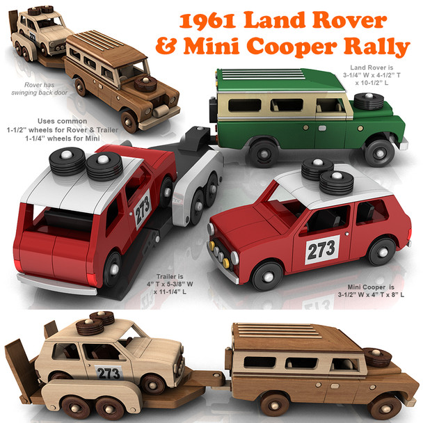 1961 Land Rover and Mini Cooper Rally (3 PDF Downloads) Wood Toy Plans