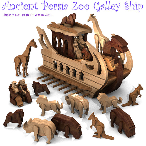 Ancient Persia Zoo Galley Ship with King & Animals (PDF Download) Wood Toy Plans
