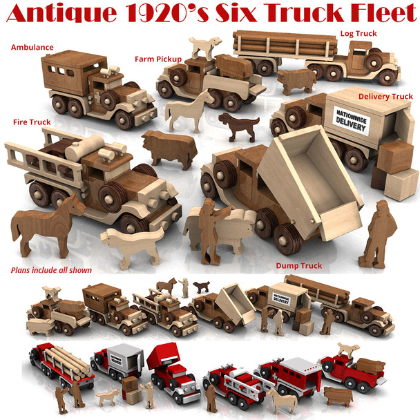 Antique 1920's Six Truck Fleet (6 PDF Downloads) Wood Toy Plans
