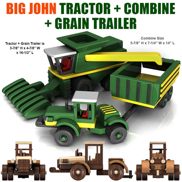 Big John Farm Tractor + Trailer + Combine (2 PDF Downloads) Wood Toy Plans