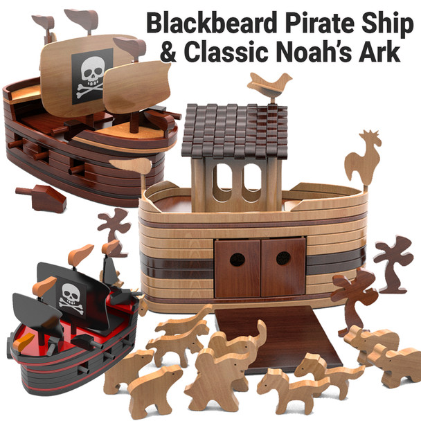Blackbeard Pirate Ship + Classic Noah's Ark (2 PDF Downloads) Wood Toy Plans