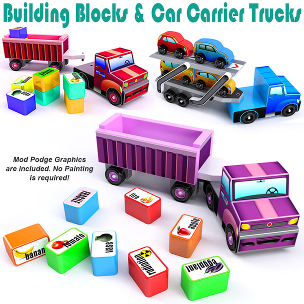 Classic Car Carrier + Building Blocks Truck (2 PDF Downloads) Wood Toy Plans