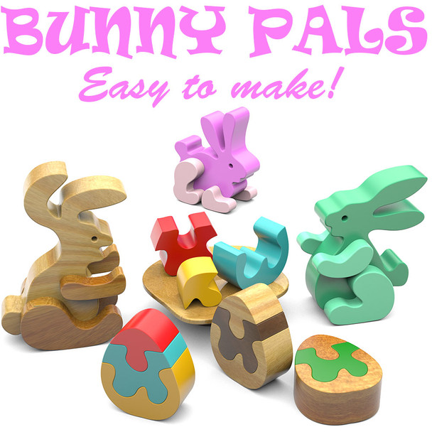 Bunny Pals Scroll Saw Plan Set (PDF Download) Wood Toy Plans