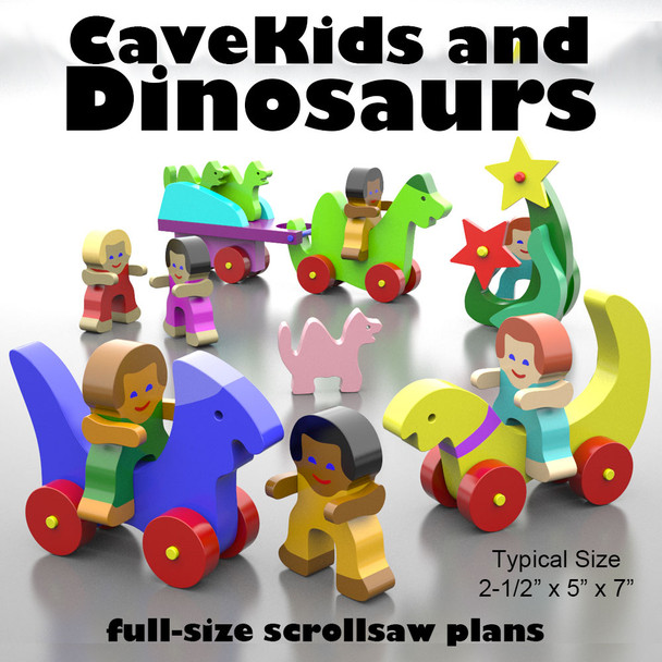 CaveKids and Dinosaurs (PDF Download) Wood Toy Plans