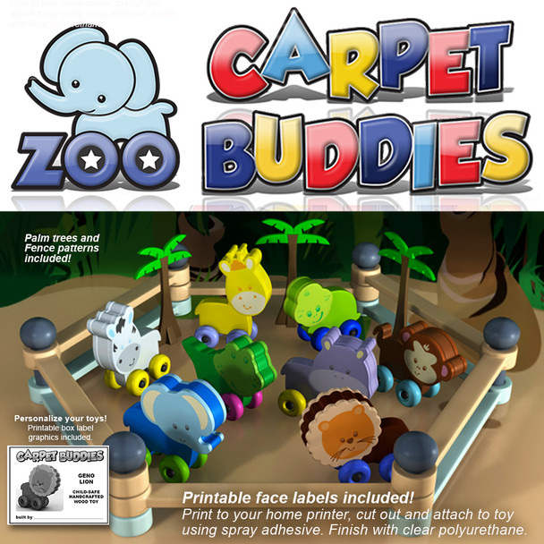 Zoo Carpet Buddies (PDF Download) Wood Toy Plans