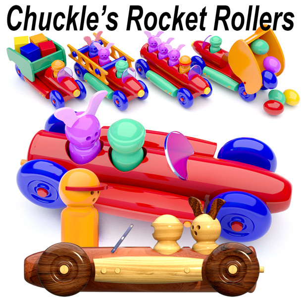 Chuckle's Rocket Rollers for Lathes (PDF Download) Wood Toy Plans