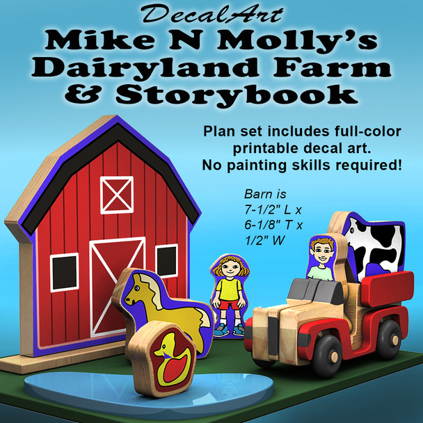 DecalArt Mike N Molly Dairyland Farm & Storybook (PDF Download + PDF Storybook) Wood Toy Plans