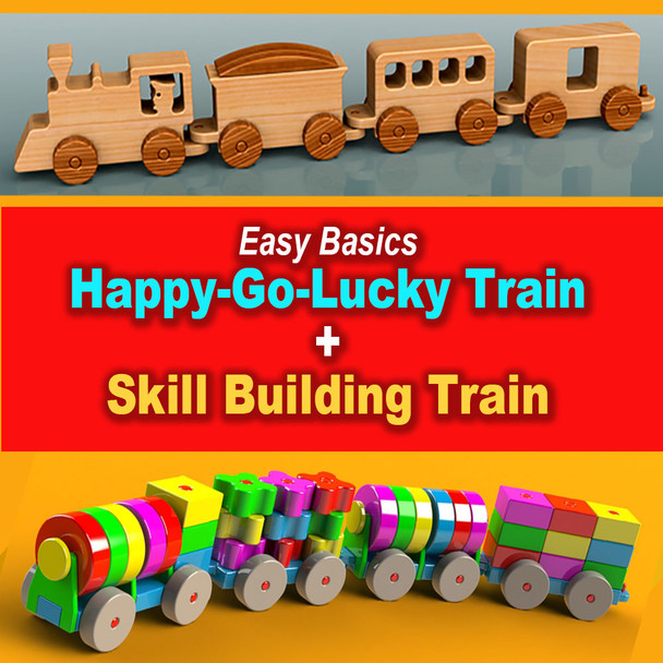 Easy Basics Skill Building Puzzle Train + Happy-Go-Lucky Train (2 PDF Downloads) Wood Toy Plans