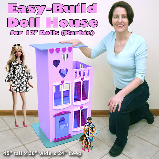 "Easy-Build Doll House for 12"" Dolls (Barbie) (PDF Download) Wood Toy Plans"