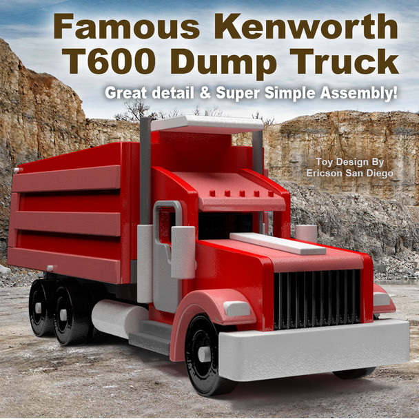 Famous Kenworth T600 Dump Truck (PDF Download) Wood Toy Plans