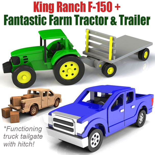 Fantastic Farm Tractor & Trailer + King Ranch F-150 Truck (2 PDF Downloads) Wood Toy Plans