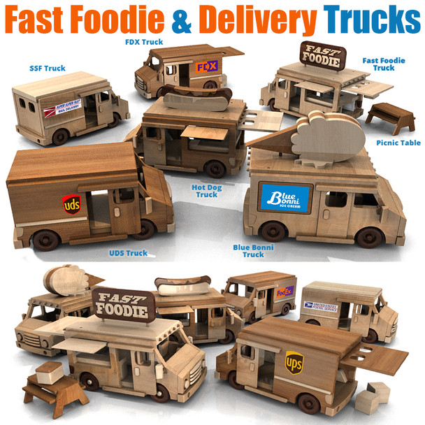 Fast Foodie N Delivery Trucks (2 PDF Downloads) Wood Toy Plans