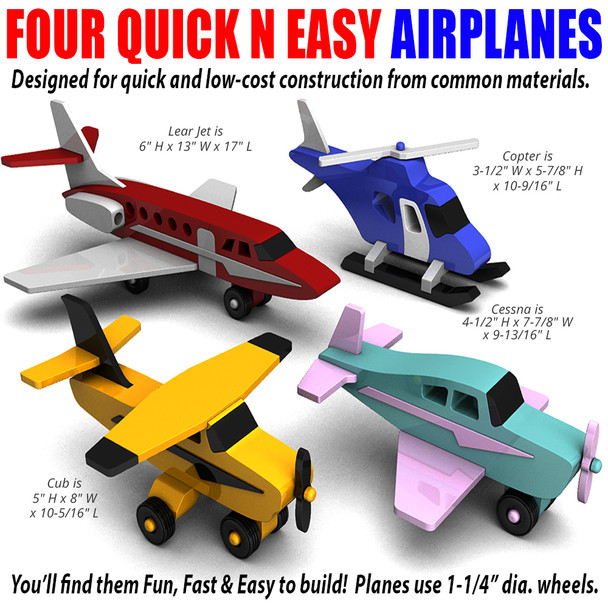 Four Quick N Easy Airplanes (PDF Download) Wood Toy Plans