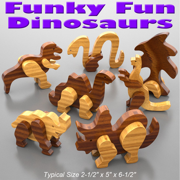 Funky Fun Dinosaurs (PDF Download) Wood Toy Plans