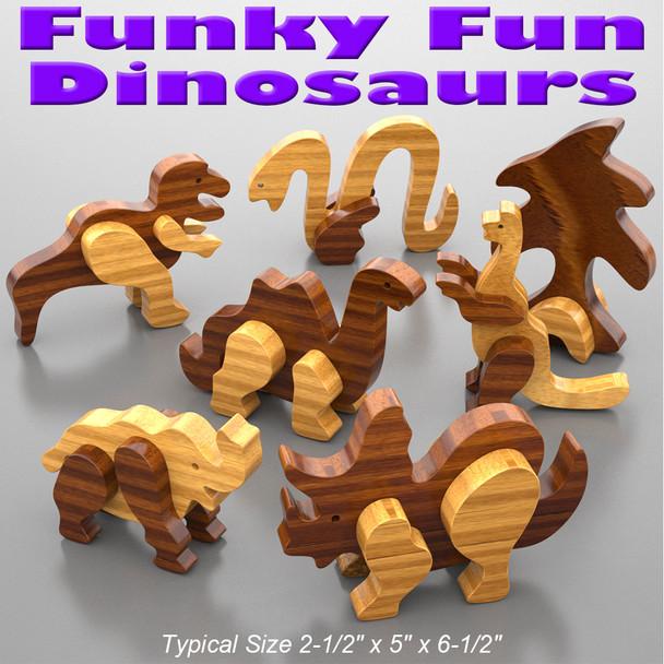 Funky Fun Dinosaurs (PDF Download) Wood Toy Plans