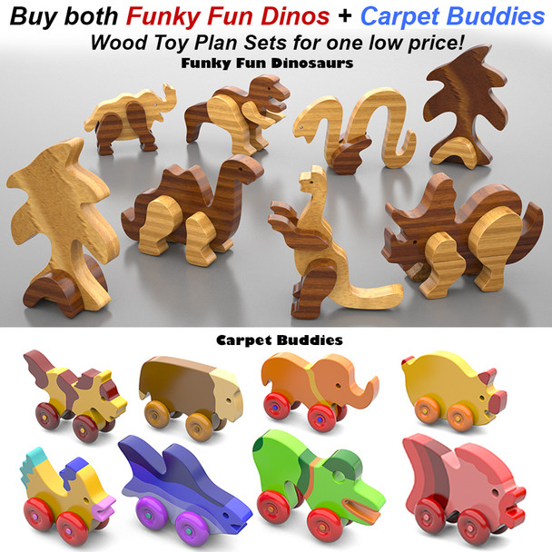 Funky Fun Dinosaurs + Carpet Buddies (2 PDF Downloads) Wood Toy Plans