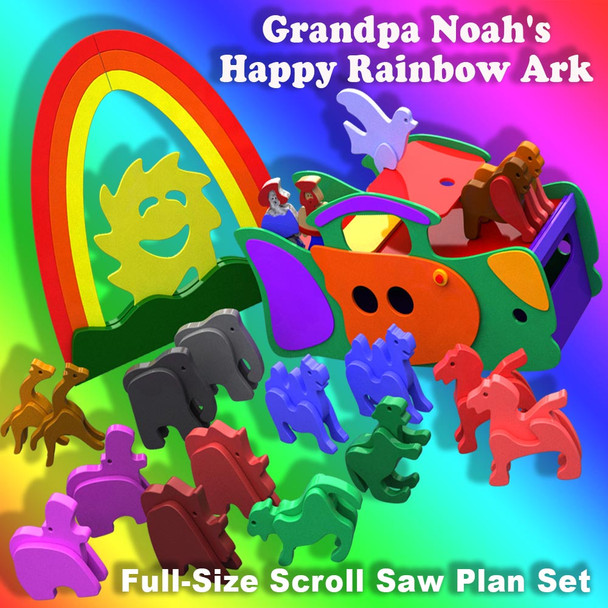 Grandpa Noah's Happy Rainbow Ark & Animals (PDF Download) Wood Toy Plans